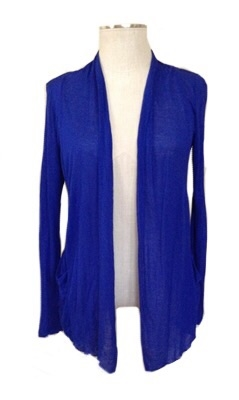 long sleeve lightweight cardigan - royal blue - rayon